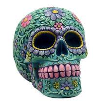 Aqua Pink Day of the Dead Sugar Skull Coin Bank Mexican Dia De Los Muertos New
