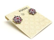Pink Crystals Studs New! Nwt Fossil Starburst Vintage Silvertone Earrings
