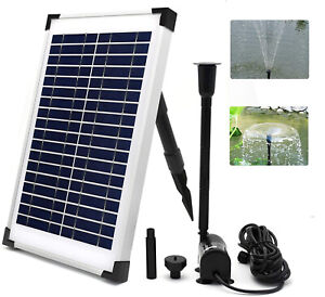12V Solar Panel Submersible Fountain Water Pump Flow 980L/H Garden Pond Pool