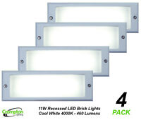 4 x 11W LED Brick Lights Silver Recessed Wall Light Plain Face 225 x 125mm IP66