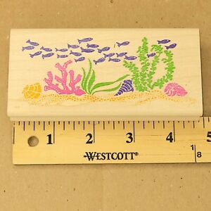 Rubber Stampede Stamp Wood Mount Under The Sea Coral Reef Ocean Fish Shell