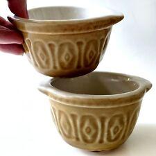1970's Glazed Yellow Soup Crock Set Pair of Cali Pottery Custard Brule Bowl Duo