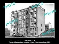 OLD LARGE HISTORICAL PHOTO OF NEWCASTLE NSW, THE DAVID COHEN WAREHOUSE c1890