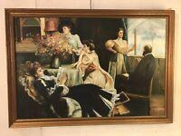 """Vintage Painting,large Oil On Canvas28""""X40""""signed Frank.12pix4details.MAKE OFFER"""