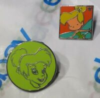 2 DIFFERENT Rare Tinker Bell Disney Parks Peter Pan Hidden Mickey Series Pin Lot