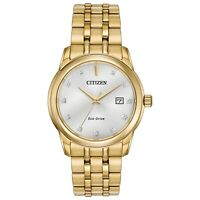 Citizen Eco-Drive Men's Diamond Accents Gold-Tone Bracelet 39mm Watch BM7342-50A