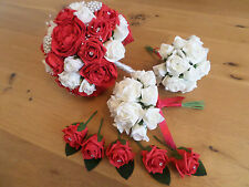 Wedding Bundle in Ivory & Red with Pearls, Diamante and 2 posies & 5 Buttonholes