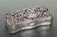 Antique Edwardian Silver Pot Porri/Dressing Table Box, Pierced Shepherdess Lid