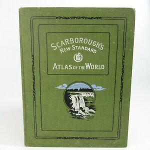 Scarborough's New Standard Atlas of the World 1910 Hardcover Book Antique Maps