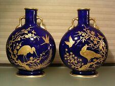 Pair Aesthetic 19th C Porcelain Blue Gold Moon Flasks Vases Minton