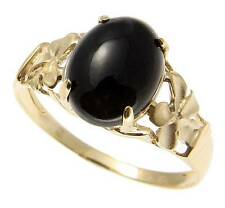 GENUINE NATURAL BLACK CORAL RING HAWAIIAN PLUMERIA FLOWER SOLID 14K YELLOW GOLD