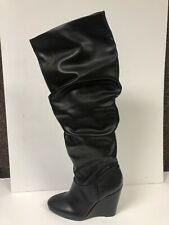 Charles David Holly Fashion Slouch Boots Womens Wedge Black 9 M