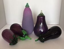 Set Of 5 Art Glass Mixed Media Eggplant Vegetable Hand Blown Glass Decorative
