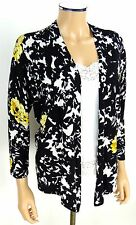 CACHE Cardigan Sweater SMALL Black White Yellow Roses Floral Print Knit Top