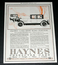 1921 OLD MAGAZINE PRINT AD, HAYNES CHARACTER CARS, CARS THAT ECHO POSITION, ART!