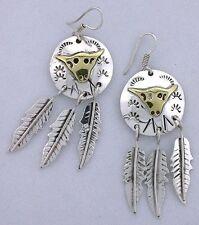 Southwest Concho Bull Steer Feather Dangle Earrings .925 Sterling Silver 4120