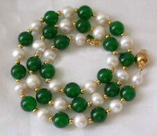 """7-8MM White Akoya Pearl & Emerald Necklace 18"""" AAA+R"""