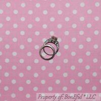 BonEful Fabric FQ Cotton Quilt VTG Pink White Light Baby Polka Dot Calico Stripe