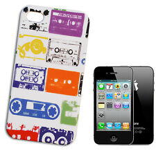 COVER CASE FLIP COMPATIBILE PER IPHONE 4 POP ART CASSETTE MUSICA COLORATE BIANCO