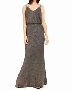 Calvin Klein Womens Strappy Metallic Black Size 8 Blouson Maxi Dress $179 171