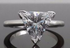 2.5CT Triangle Diamond DVVS1 Solitaire Engagement Ring Women 14K White Gold Over
