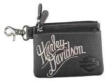 Harley-Davidson Women's Embroidered H-D Script Zipper Coin Pouch, ZWL3895-CRMBLK