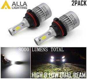 Alla Lighting 9007 8000LM COB LED hd-light  hi   & lo  Bulbs Lamps, 6500K White