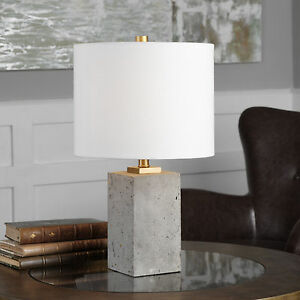 """DREXEL 17"""" URBAN INDUSTRIAL LOOK STAINED CONCRETE ACCENT TABLE LAMP UTTERMOST"""