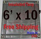"6' x 10' Insulated Poly Tarp 1/4"" Foam Core Concrete Padding Wall Cushion Kiln"