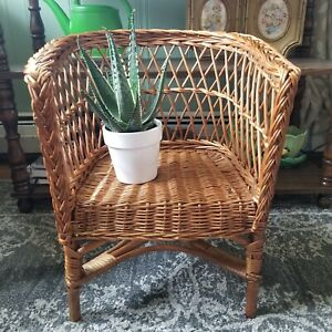 Vintage Wicker Childs Chair Natural Brown Rattan Plant Stand