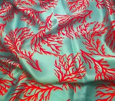 "Silk CHARMEUSE Fabric TURQUOISE WITH CORAL 45"" by the yard"
