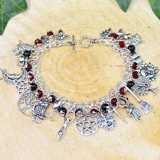 Pagan Ways Charm Bracelet - Gothic Tones - Onyx - Wicca, Witch, Pagan Jewellery