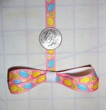 "Grosgrain Ribbon 3/8"" inch Easter Jelly Beans Flowers Daisies Pink Yellow Blue"