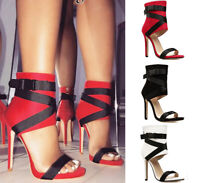 Strappy Gladiator Sandals Ankle Strap Peep Toe Heels Red Women Shoes Plus Size