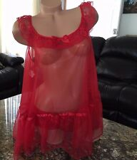New Valentine PLUS SIZE 2pc White Red Sheer angel lace LINGERIE 1X 2X 3X T1889