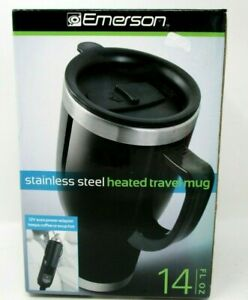 Emerson Heated Travel Mug Stainless Steel Inside Car Charger 14 oz
