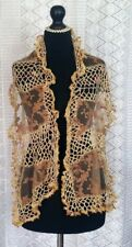 Handmade Retro Scarf Vintage Look Shawl Vintage Lace Old Gold AntiqueArt Deco
