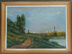 LANDSCAPE OIL PAINTING ON BOARD IN A POST IMPRESSIONISM STYLE.- L.V.NOWELL(1985)