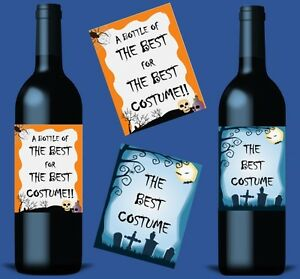 Halloween Bottle Labels Party Award Prize Wine Vodka Whiskey Gin Champagne Juice