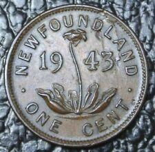 OLD CANADIAN COIN - 1943 - NEWFOUNDLAND ONE CENT - LAMINATED PLANCHLET - ERROR