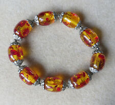 """Handmade FAUX amber beaded stretchy bracelet B91 fits 7"""" approx."""