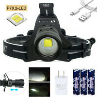 Zoom 30W XHP70.2 LED Rechargeable Headlamp Spotlight USB Torch Powerbank 18650 Q