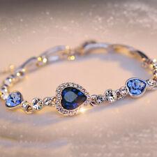 Heart Round Blue Sapphire Fine Topaz Crystal Tennis Bracelet