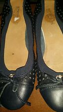 Sperry Top Sider Navy perforate leatherBlue ballet flats Slipper Shoes size 7.5