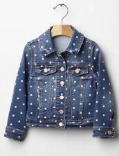 GAP Baby / Toddler Girls Size 12-18 Months Blue Polka Dot Jean Denim Jacket Coat