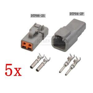 5x Deutsch DTP06-2S/DTP04-2P Sealed Waterproof Electrical Connector Plug Kits
