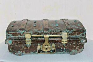 Iron Trunk Box Old Vintage Antique Brass Lock Trunk Storage Collectible BI-47