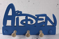 wooden coat pegs hook hangers personalised names Disney style