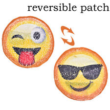 Emoji Reversible Sequined Sew On Patches for clothes DIY Coat Sweater Applique _