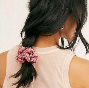 NWT Free People Maisie Crochet Scrunchie Coral Pink Bohemian Hair Tie